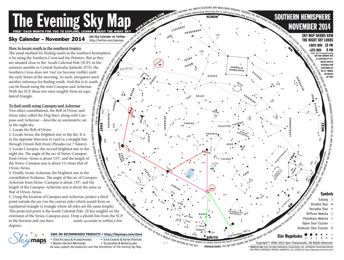 Direction Finding By The Stars In The Southern Subtropics Central - Night sky map northern hemisphere